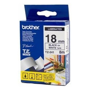 Brother P-Touch TZE241 / TZ241 laminated 18mm black on white 8m length